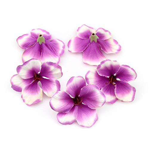 Fake flower heads in bulk Wholesale for Crafts Outdoor Wedding Paty Home Decoration DIY Wreaths Spring Silk Orchid Artificial Flower Heads Gladiolus Cymbidium Flowers 100pcs/lot (Purple)