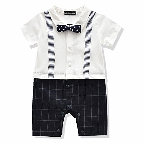 Baby Boys Gentleman Romper Bowtie Jumpsuit Plaid Outfit 3 Colors (70(3-6m), White)