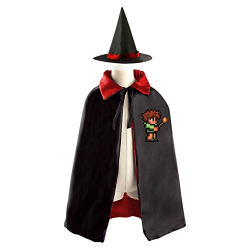 Terraria Costumes Halloween (Terraria Fire Match Boy Halloween Party Costume Kids Cloak Wizard Witch Cape and Hat)