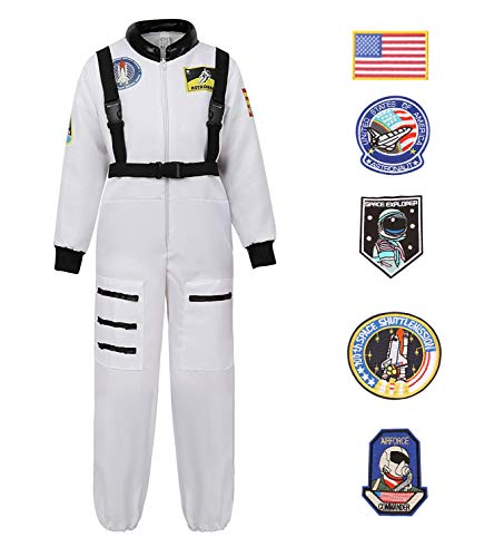 LOHZAQ Kids Deluxe Astronaut Costume Halloween Role Play Costumes Jumpsuit for Boys Girls Teens Toddlers with 5 Pcs Funny Patches (White, 5-6/Height -
