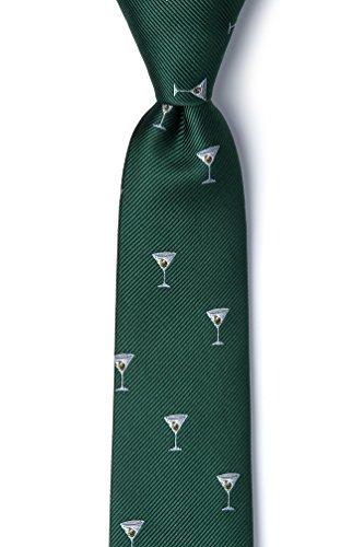 Green Microfiber Skinny Tie | Martini & Olive Skinny (Wild Ties Olive)