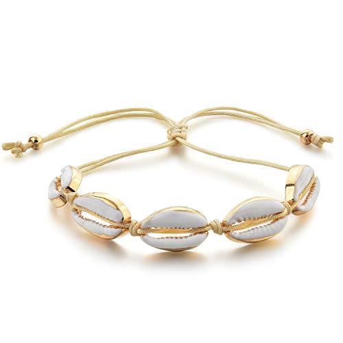Choker Seashell Bracelet Anklet for Women Girls Sea Beach Boho Hawaii Adjustable Handmade Woven Summer -