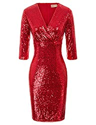 Vintage 50s Red Sequin Pencil Dress With V Neck