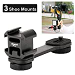 Ulanzi PT-3 Triple Cold Shoe Mounts Plate Microphone Extension Bar Bracket Stand Gimbal Accessories Compatible for Zhiyun Smooth 4/DJI OSMO Mobile 2/Feiyu Vimble 2 2