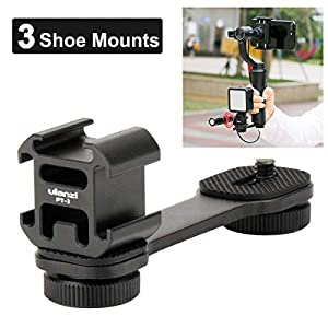 Ulanzi PT-3 Triple Cold Shoe Mounts Plate Microphone Extension Bar Bracket Stand Gimbal Accessories Compatible for Zhiyun Smooth 4/DJI OSMO Mobile 2/Feiyu Vimble 2 20