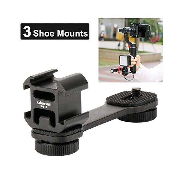 Ulanzi PT-3 Triple Cold Shoe Mounts Plate Microphone Extension Bar Bracket Stand Gimbal Accessories Compatible for Zhiyun Smooth 4/DJI OSMO Mobile 2/Feiyu Vimble 2 1