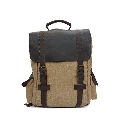 BAGEHUA キャンバス旅行バックパック、中立型のバックパックには、耐久性に優れたファッションラップトップバックパック(長さ 40 センチ、幅 11 センチ、高さ 40 cm ) B076KN37KG15 inch Khaki