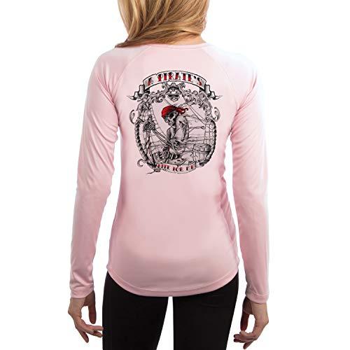 (SAND.SALT.SURF.SUN. Pirate Life Women's UPF 50+ Long Sleeve T-Shirt Medium Pink Blossom)