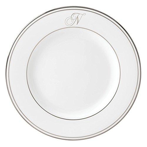 (Lenox Federal Platinum Script Monogram Dinnerware Salad Plate, N)