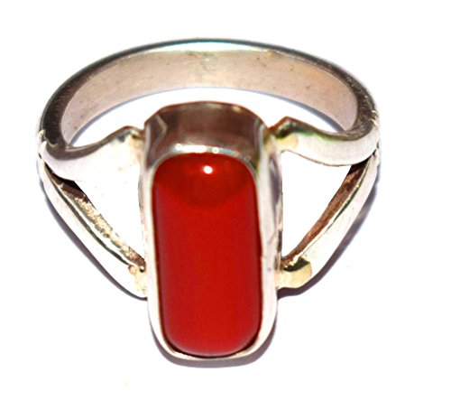 Divya Shakti 9.25-9.50 Carats Red Coral Ring ( Moonga / Munga Stone Silver Ring ) 100% Original Gemstone