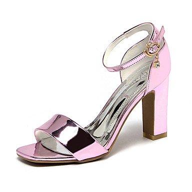 Chunky Women's CN34 UK3 Block Sandals PU Heel Heel Screen Club Dress Color Pink Shoes US5 Summer Silver EU35 Rhinestone Blushing UrYqFHwr
