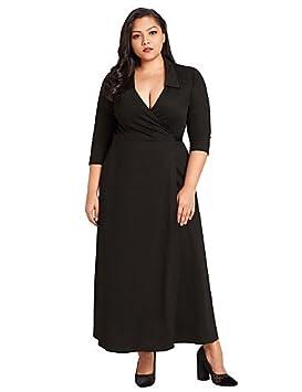 RENQINGLIN Womens Daily Street Chic Maxi Vestidos Sueltos,Color Sólido Basic Collar De La Camisa
