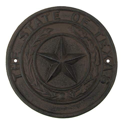 (TG,LLC Rustic Cast Iron Texas Seal Sign TX Lonestar Garage Man Cave Bar Wall Decor)