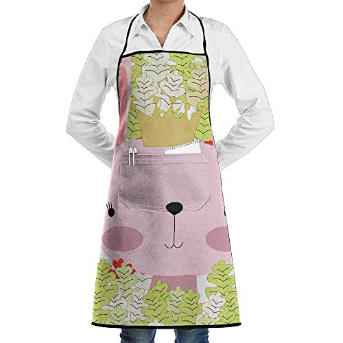 LOGENLIKE Cute Rabbit Kitchen Aprons, Adjustable Classic Barbecue Apron Baker Restaurant Black Bib Apron With Pockets For Men And Women