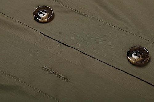 cooshional Chaqueta Abrigo Impermeable Ligera para Mujer con Capucha verde ejército
