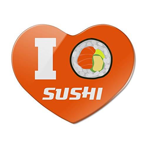 I Love Sushi Roll Heart Heart Acrylic Fridge Refrigerator Magnet