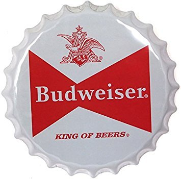 Budweiser Bow Tie Bottle Cap Bar - Reproduction Vintage Advertising Marquee Metal Sign - 15 Inch Diameter