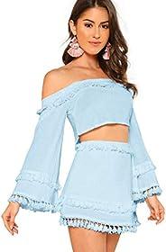 SheIn Women's 2 Piece Outfit Fringe Trim Crop Top Skirt