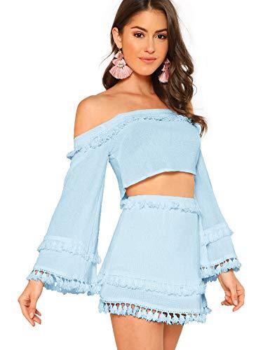 2 Piece Fringe Trim Crop Top Skirt