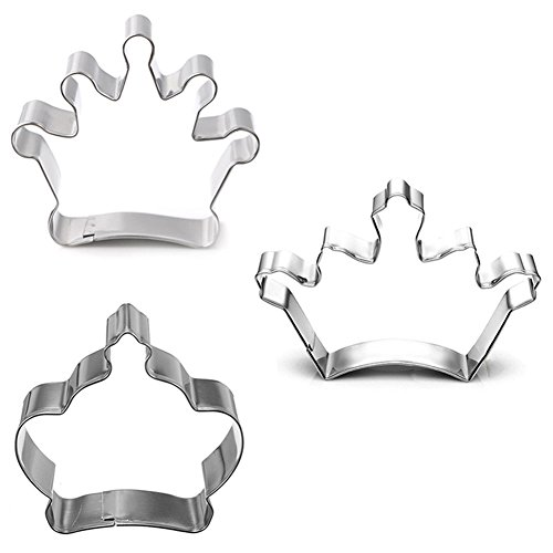 Hestio 3pcs Crown Shaped Stainless Steel Cookie Biscuit Cutter DIY Baking Mould Sculpting Tools