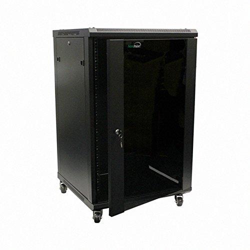 NavePoint 18U Wall Mount Server Data Cabinet 24-inch Depth Glass Door Lock (Ht Wall Mount)