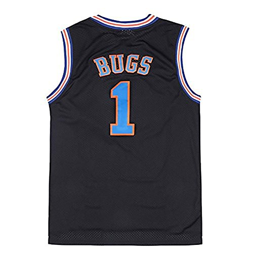 Mens Bugs Bunny No.1 Space Jam Jersey Basketball Jersey Black -