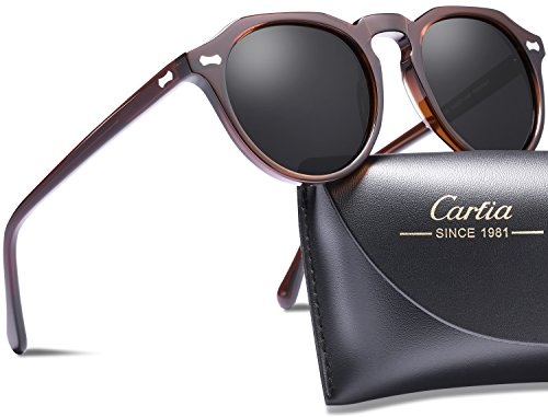 Carfia Polarized Sunglasses for Women Men丨Vintage Round Sunglasses with Case丨100% UV400 Protection (A: Brown Grey Lens, New Round Shape 50mm)