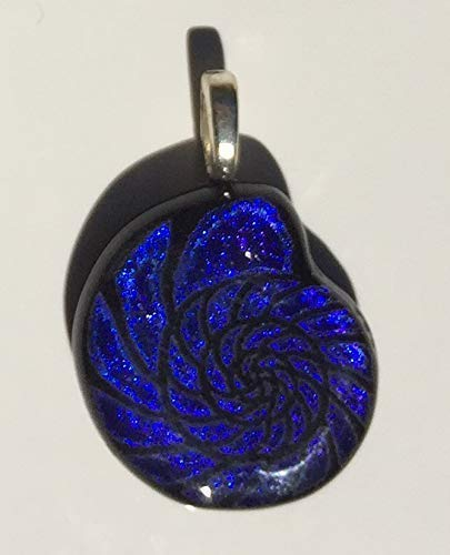 - Blue Nautilus Shell Laser Engraved Etched Dichroic Fused Glass Pendant