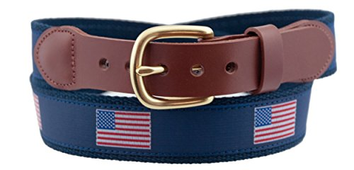 Leather Man Ltd American Flag Belt Size 40 Navy/Navy (Leather American Mens)