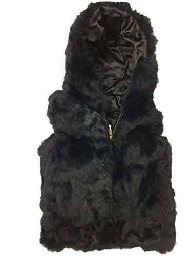Surell Rabbit Fur Sleeveless Black Vest Small by Surell