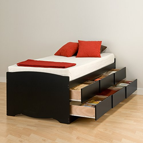 Prepac BBT-4106 Tall Twin Sonoma Platform Storage Bed with 6 Drawers, Black Mattress,