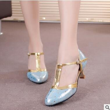 M Jane Blue 5 Mary Synthetic Shoes T Party Dance Shoes B Latin Leather Ankle 5 Women's Dance Strap US Honeystore AqUx6gSU