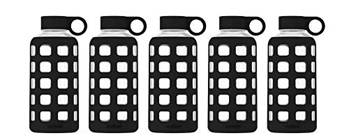 Pack Bottle Free Hydration (purifyou Premium Glass Water Bottle with Silicone Sleeve & Stainless Steel Lid Insert, 12/22/32 oz (5 Pack Jet Black, 22 oz))