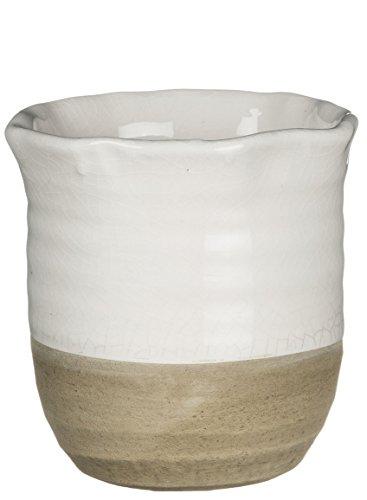 "Sullivans 4.5\"" Decorative Crackled Ceramic Pot/Vase in White and Beige"