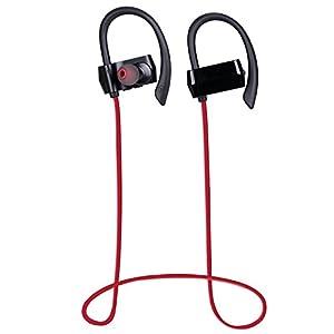 AGPTEK Bluetooth 4.1 Ecouteurs Stéréo Sport IPX4 résistance Sueur, Absolument Compatible avec AGPTEK mp3 Bluetooth(C05, A18, G05S), Rouge