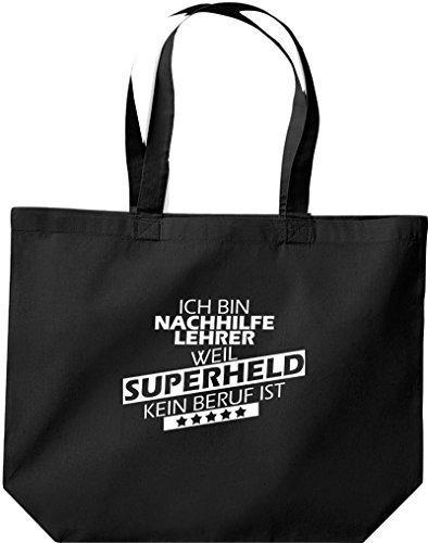 Shirtstown große Bolsa de compra, Estoy Tutor, weil Superheld sin Trabajo ist Negro