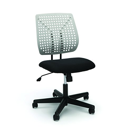 Essentials Plastic Back Task Chair - Armless Office Chair, Black/Gray (ESS-2050-BLK-GRY) by OFM