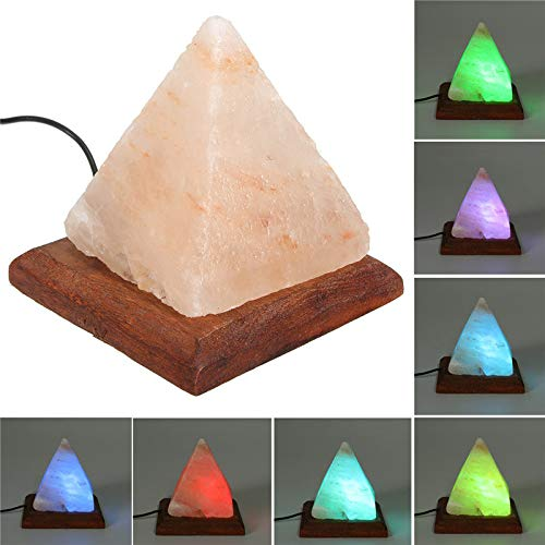 Salt Lamp Table Desk Lamp Night Light Pyramid Crystal Rock Wooden Lamp Bedroom Adornment Home Room Decor Crafts Ornaments - Pyramid Cable Fixture