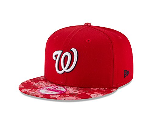 MLB Washington Nationals Women's Snap Bloom 9Fifty Snapback Cap, One Size, Scarlet