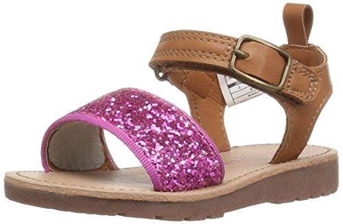 carter's April-C Girl's Glitter Sandal, Pink Glitter/Brown, 6 M US Toddler