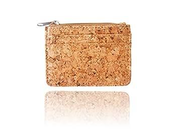 Cork Slim Wallet with Zipper Front Pocket Wallet Minimalist Secure Thin Credit Card Holder