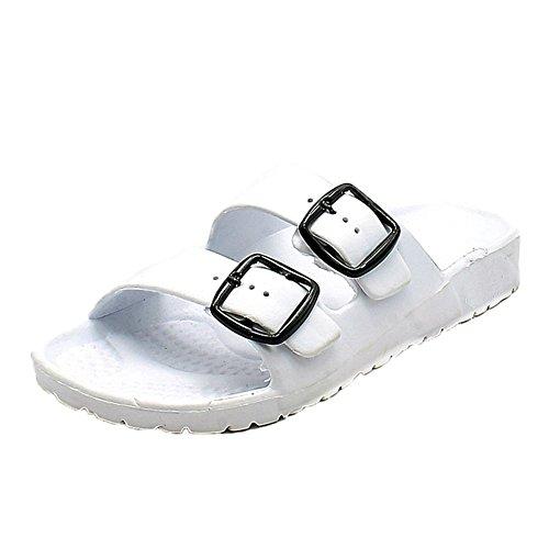 Sandalias damas goma planas de comodidad con las correas de doble Blanco