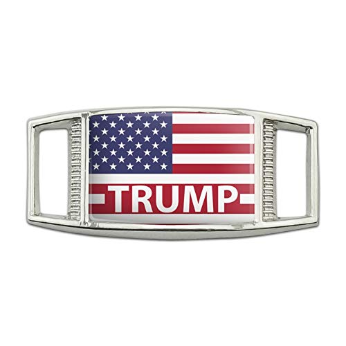 (President Trump American Flag Rectangular Shoe Shoelace Shoe Lace Tag Runner Gym Charm)