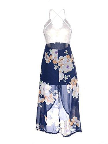 Minetom Mujer Vestido de Floral Verano con Sin Mangas Cuello en V Escote Croché Blanco Top Elegante Playa Fiesta Cóctel Maxi Dress Multicolor
