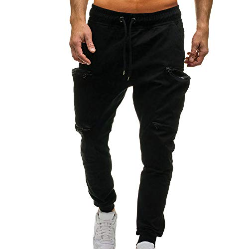 - Teresamoon Men's Drawstring Classic Joggers Pants Zipper Pockets Sport Sweat Pants