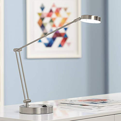 Jarrett Satin Nickel Contemporary Adjustable LED Desk Lamp - 360 Lighting