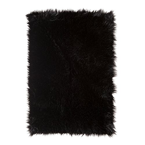 SLPR High Pile Rectangular Faux Sheepskin Rug (2' x 3', Black) | Super Area Rug Soft Fur Accent for Chair Bedroom Living Room Cottage Cabin