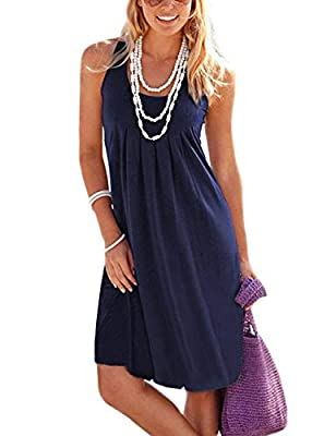 Jouica Women's Casual Summer Tank Sleeveless Knee Length Pleated Sun Dresses with Pockets