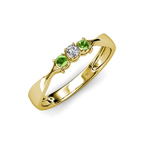 Tw Three Diamond Anniversary Ring (Green Garnet and Diamond (SI2-I1, G-H) Three Stone Ring 0.18 ct tw in 14K Yellow Gold.size)