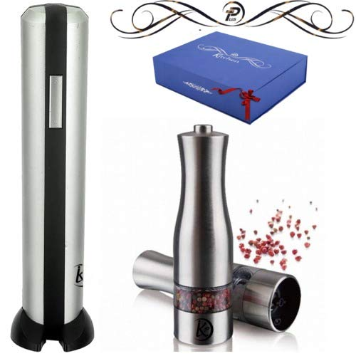 Electric Salt & Pepper Grinder with Electric Wine Opener | Set of 3 Salt & Pepper Mill & Wine Opener with Adjustable Rotor